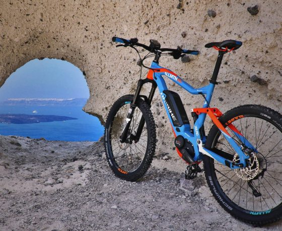 Biking in Santorini